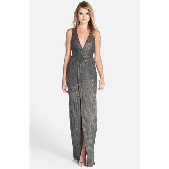 """49e16b39619385 NWT Parker """"Monarch"""" Beaded Gown in Grey Size 4"""